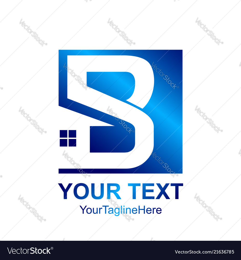initial letter b logo template colored blue home vector image