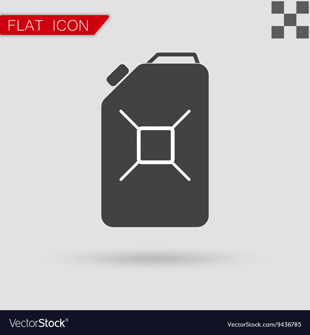 Jerrycan oil icon Flat Style with red