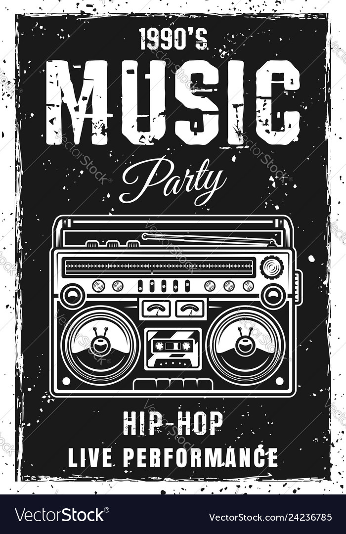 Music party black poster template with boombox