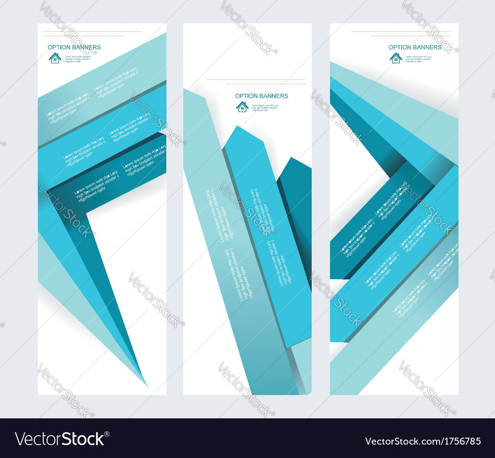 Set of abstract paper banners with blue arrows
