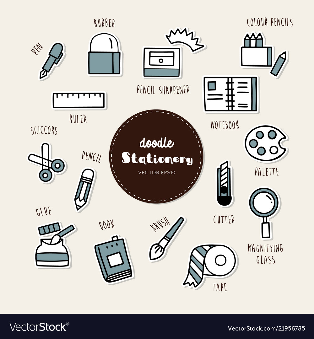 Set of stationary icons doodle
