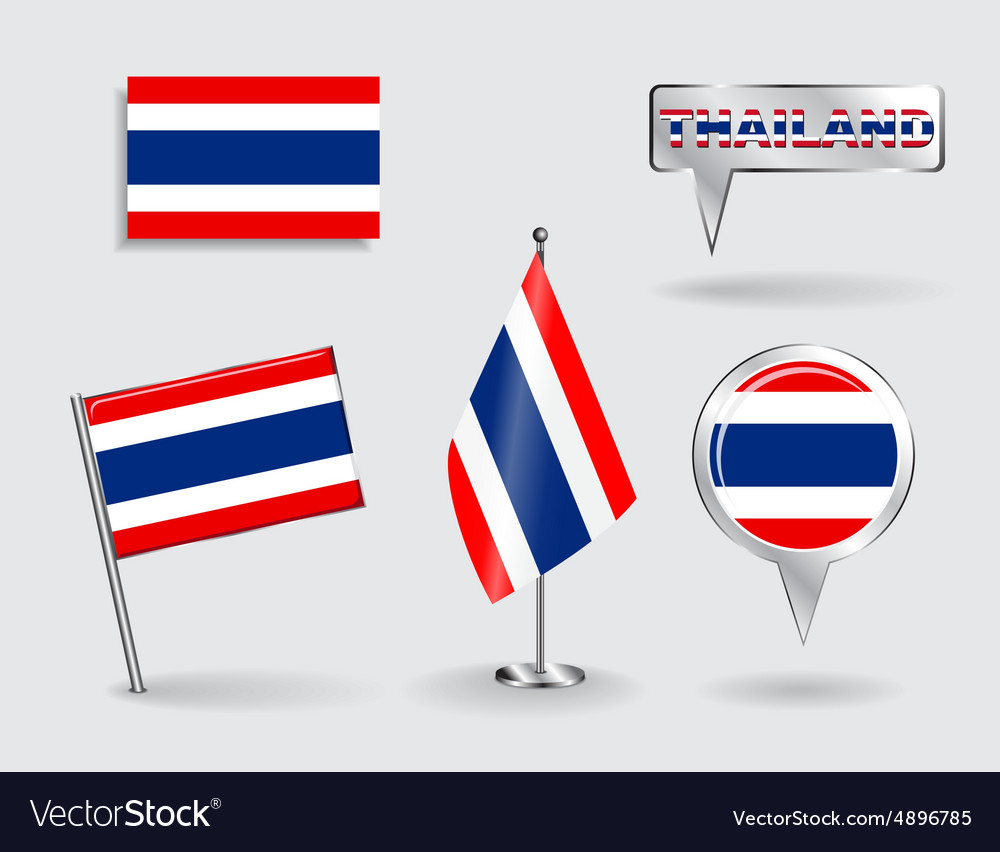Set of Thailand pin icon and map pointer flags