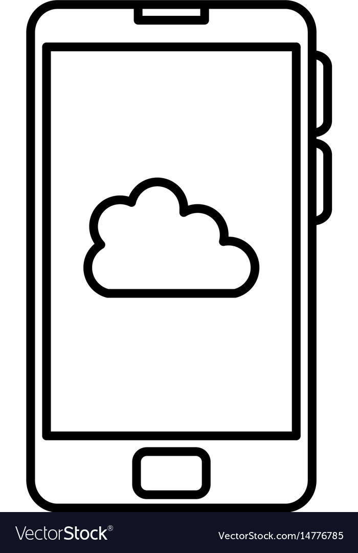 Smartphone device with cloud isolated icon vector image