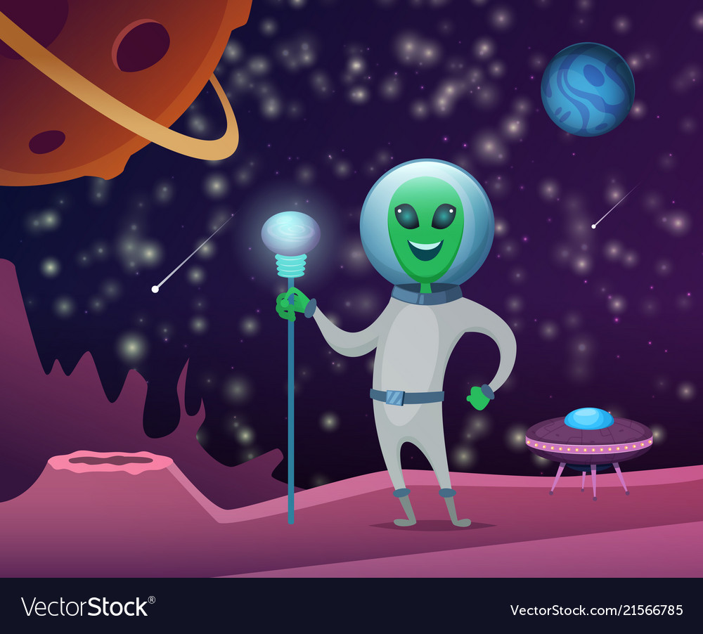 Space background with character funny alien