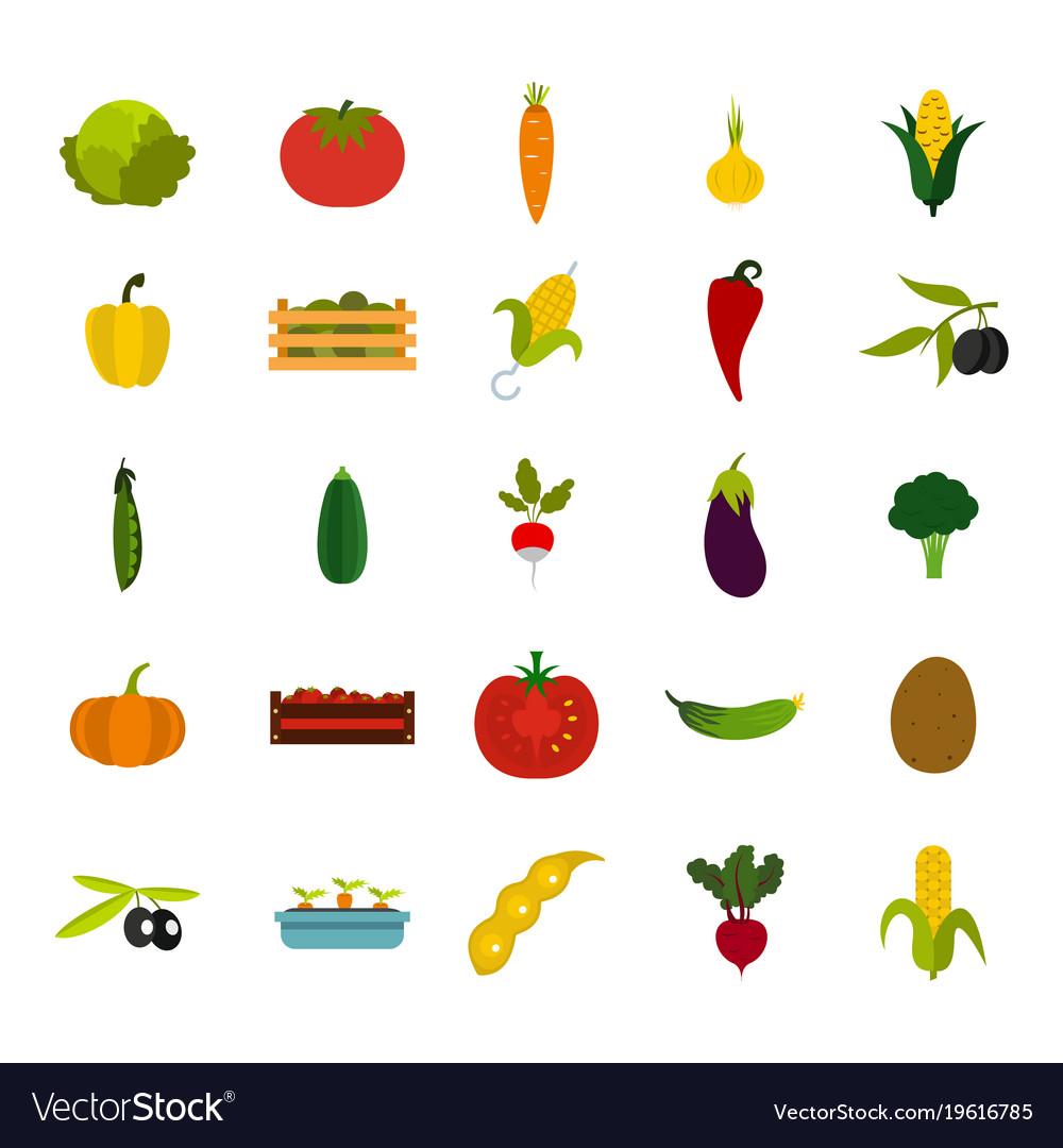 Vegetables icon set flat style