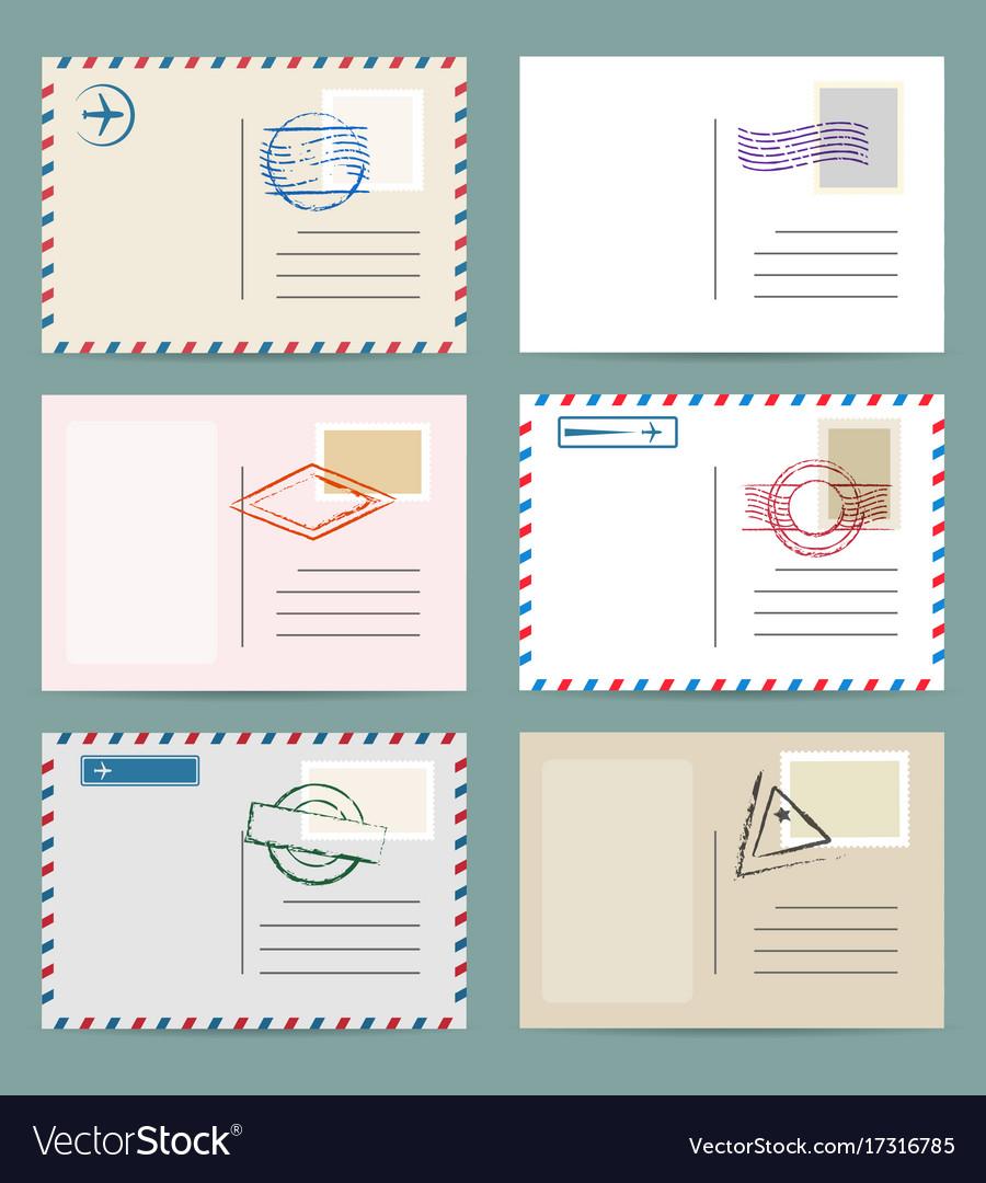 vintage postcard template set vector image