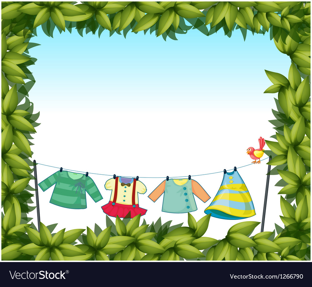 A frame border with hanging clothes and a bird Vector Image