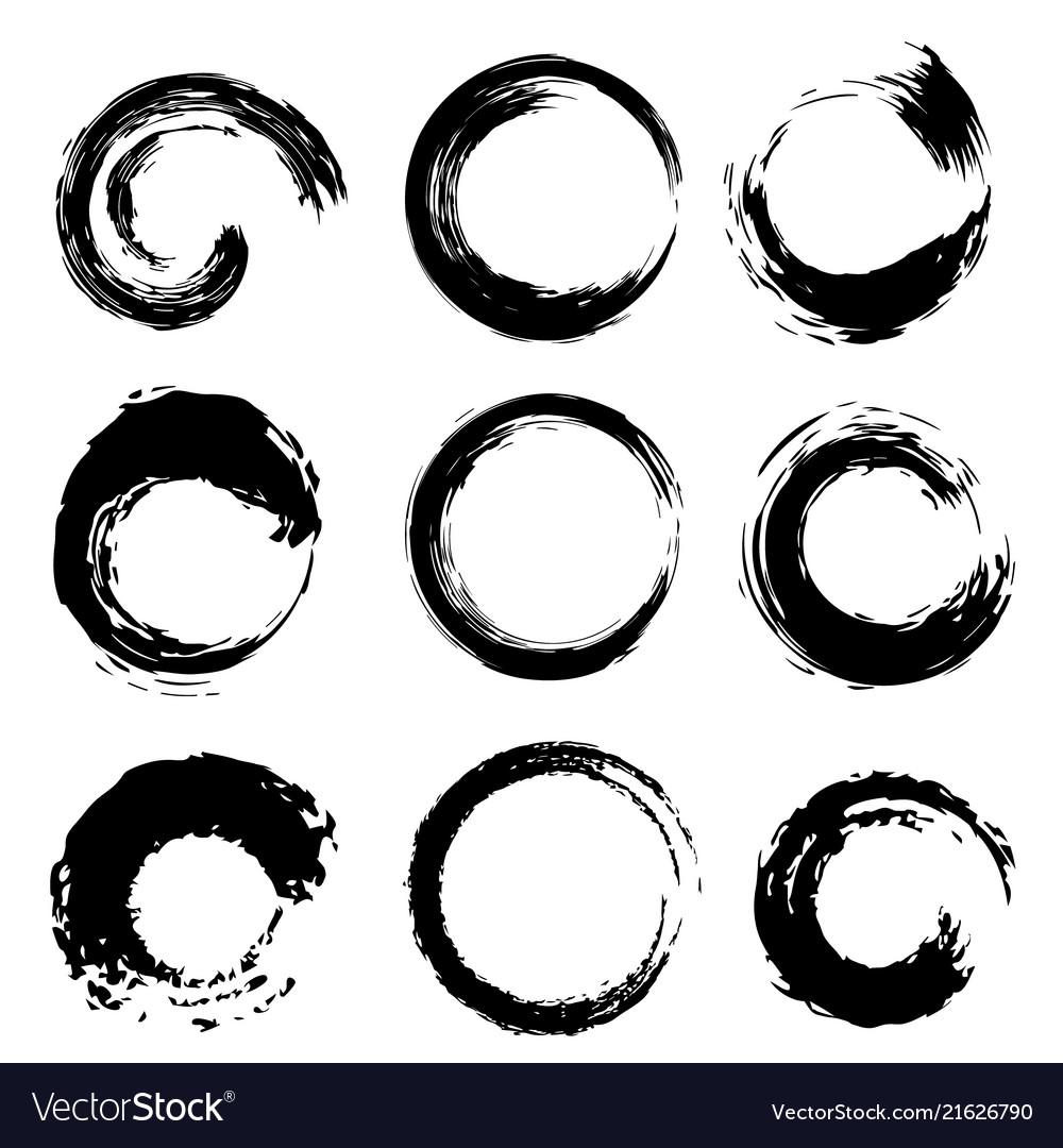 Black circles shape brush strokes set