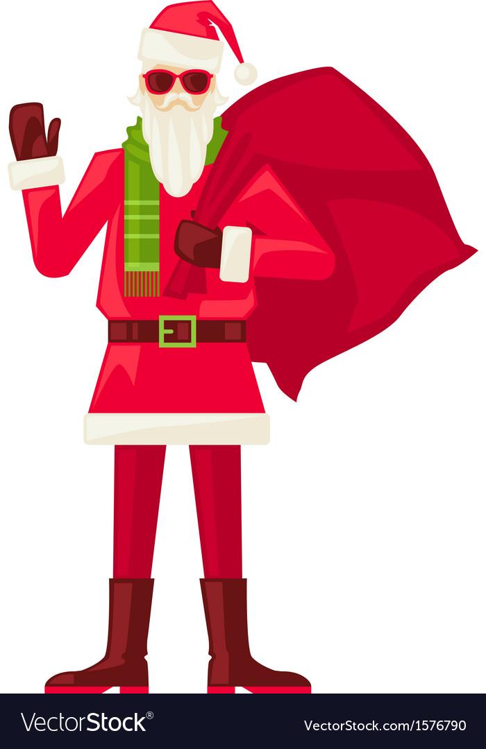 Cartoon Santa Claus in sunglasses isolated vector image