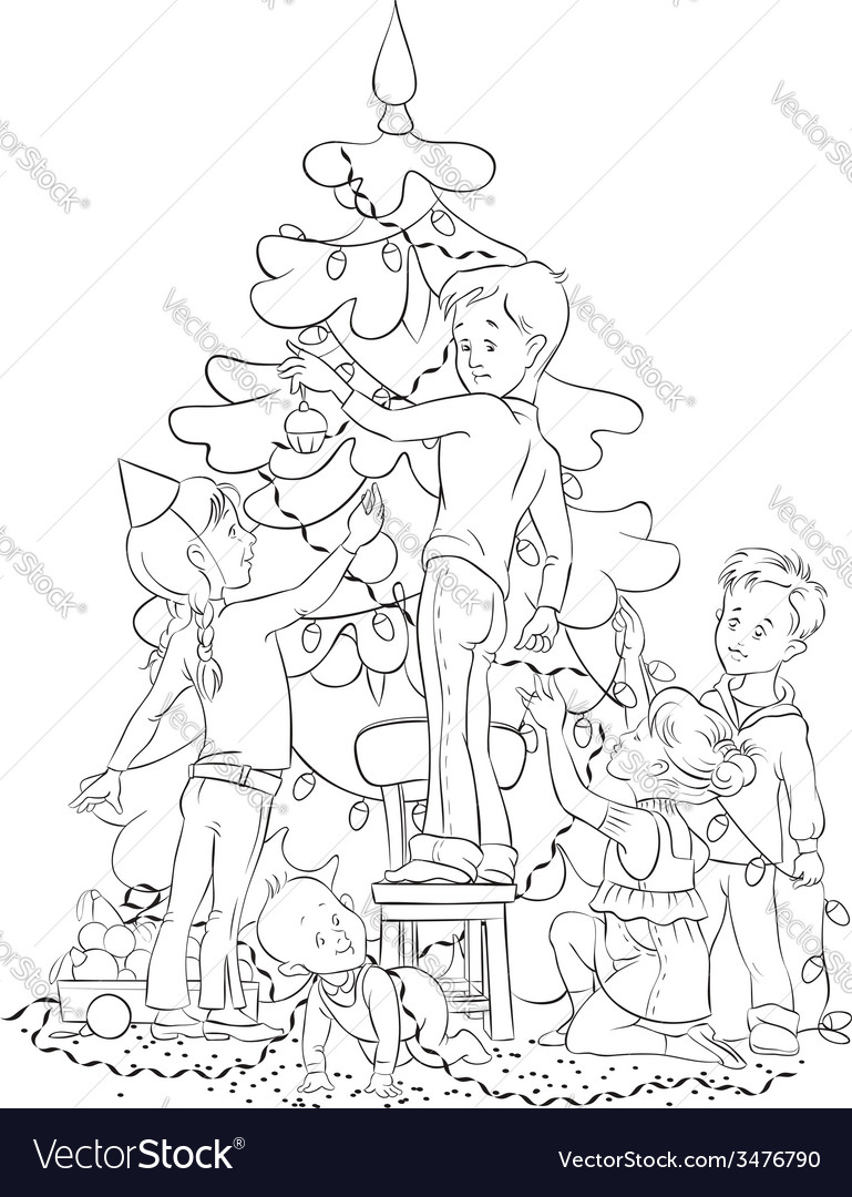 Children and christmas tree coloring page