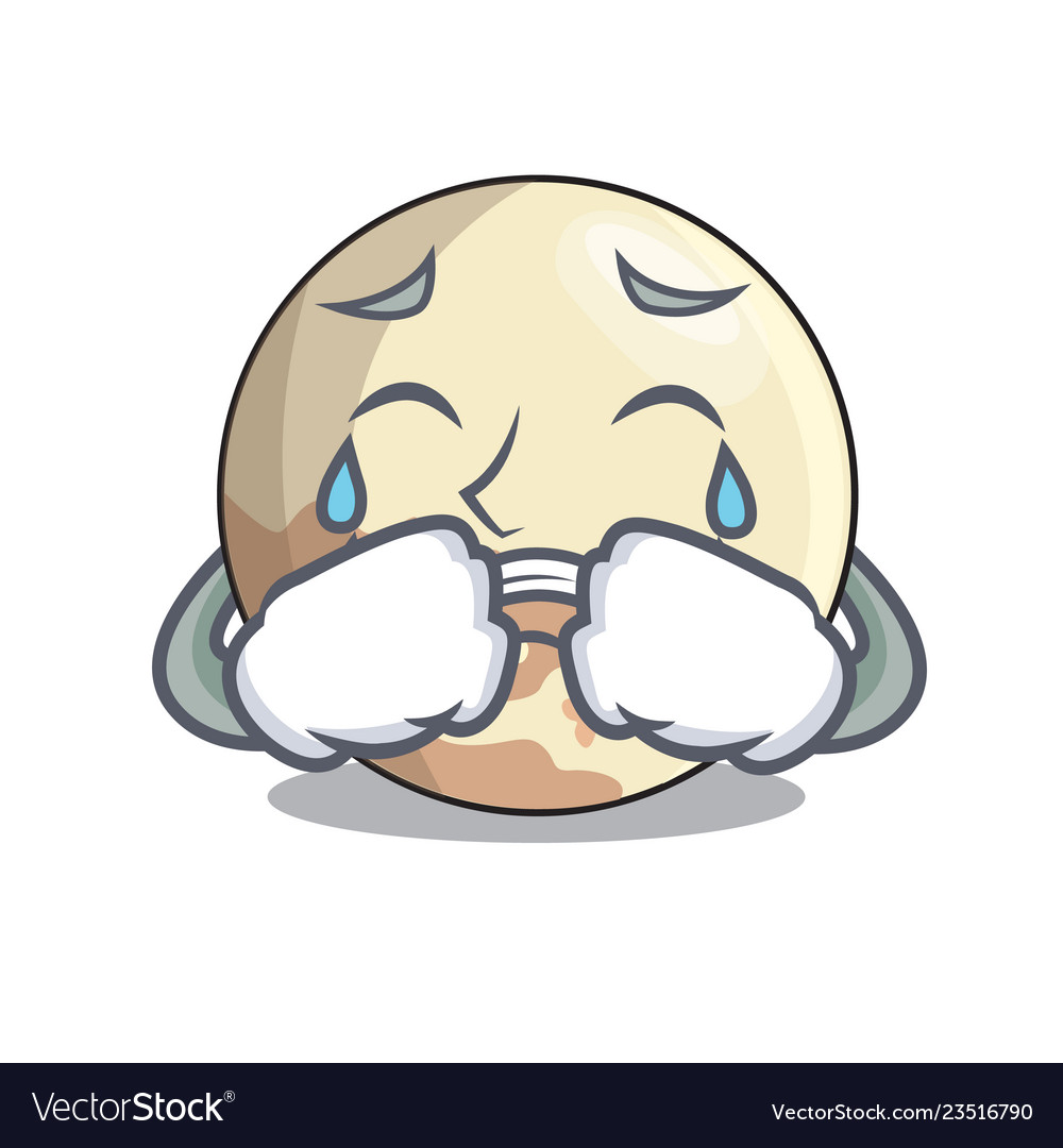 Crying Pluto Cartoon Planet Above The Sky Vector Image