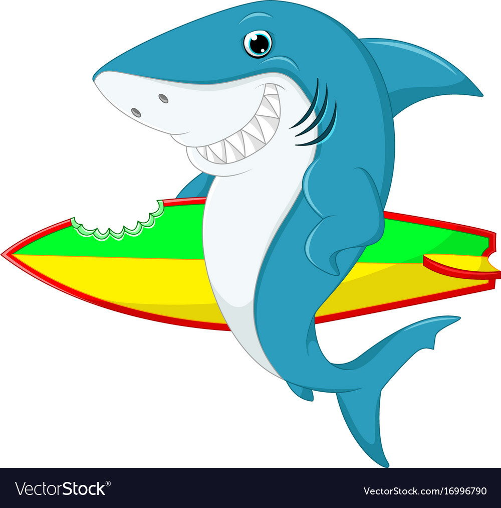 Cute shark surfing cartoon Royalty Free Vector Image