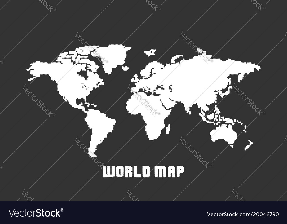Dotted blank white world map isolated on black vector image gumiabroncs Image collections