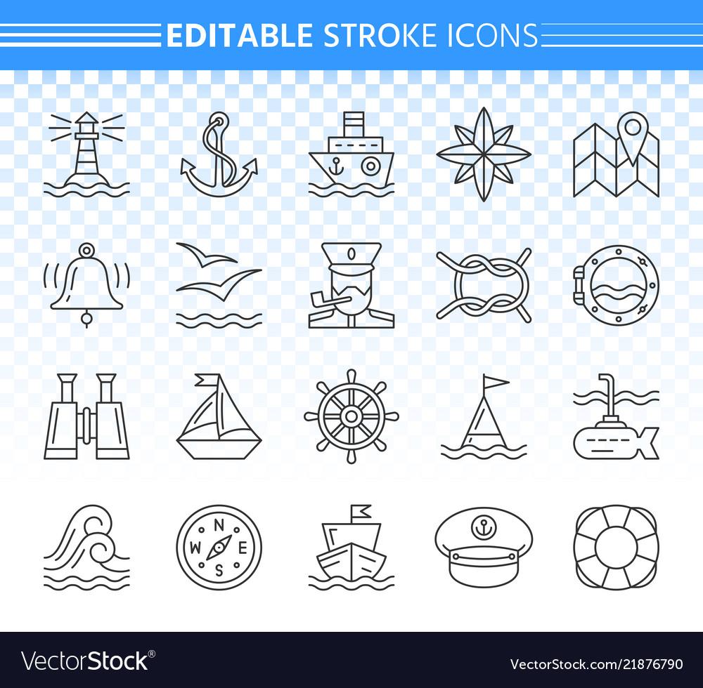Marine simple black line icons set