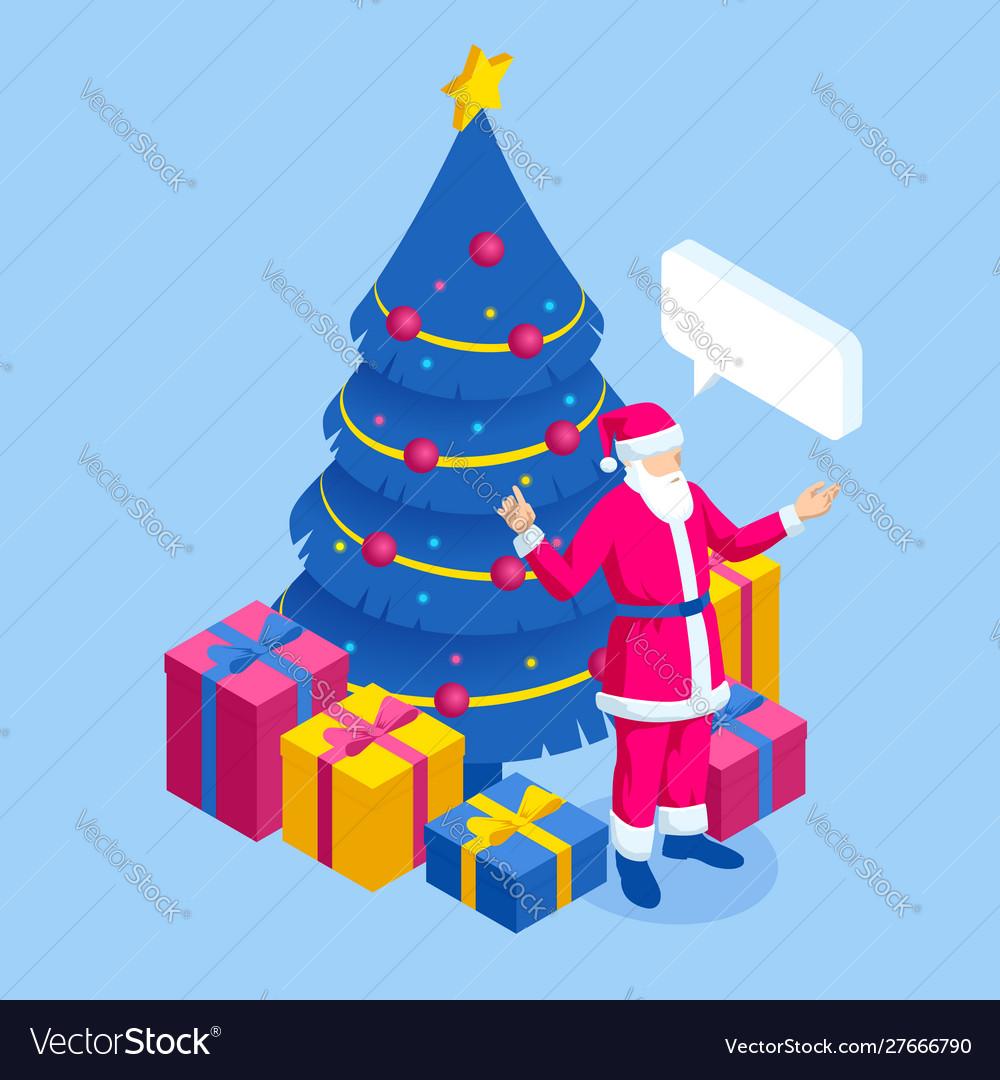 Merry christmas santa claus near christmas tree