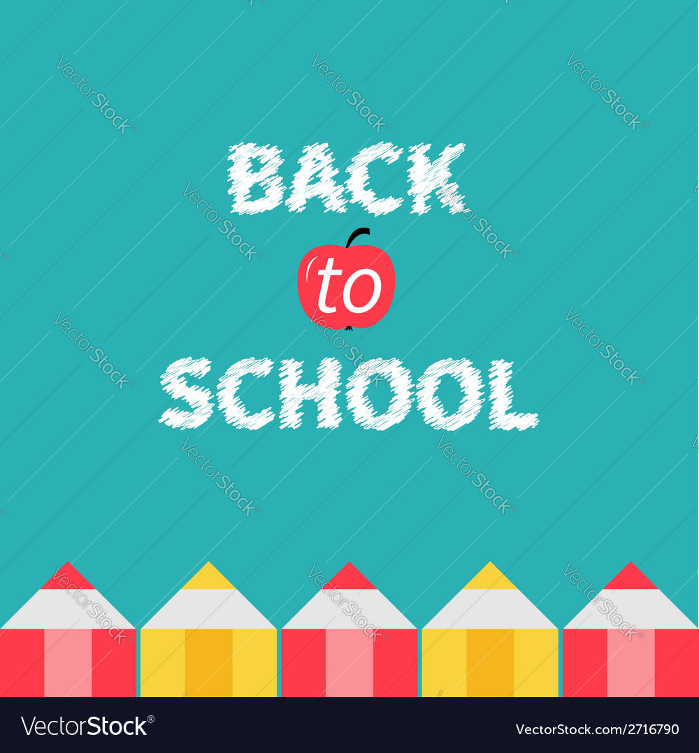 Pencil frame Back to school card Flat design