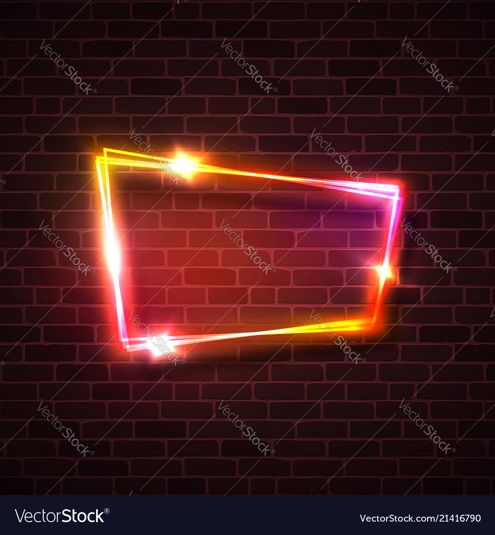 Pink red yellow glowing light background on brick