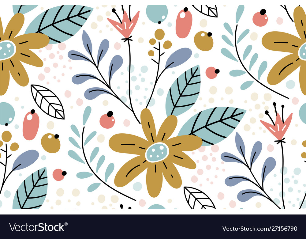 Seamless pattern with creative decorative flowers