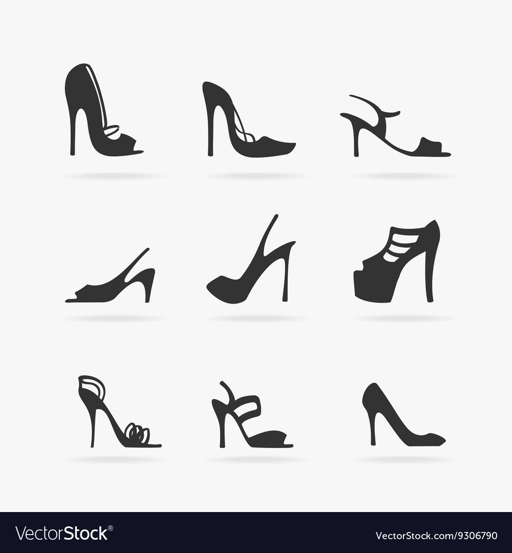40ae1289dcbf Set of Women Shoes Silhouette Royalty Free Vector Image