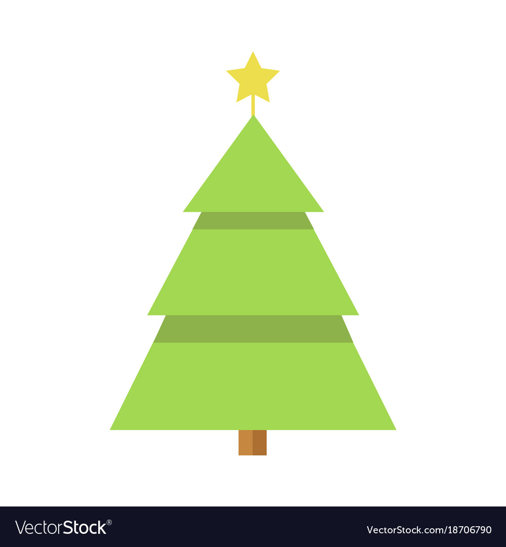 Simple Cartoon Christmas Star Pine Tree Vector Image