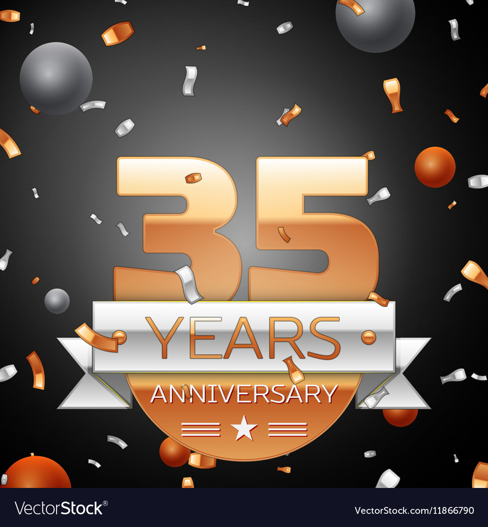 Thirty five years anniversary celebration vector image
