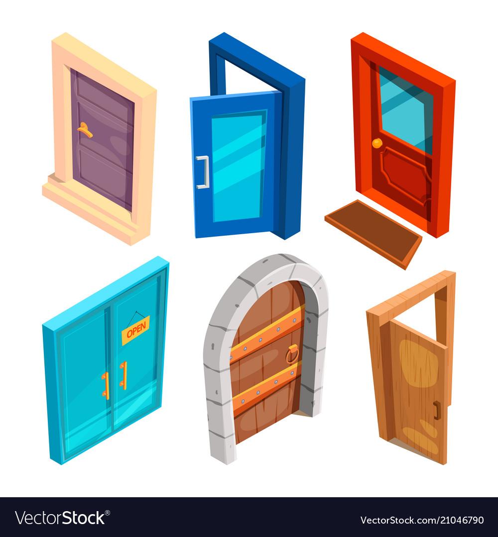 Various isometric pictures cartoon doors