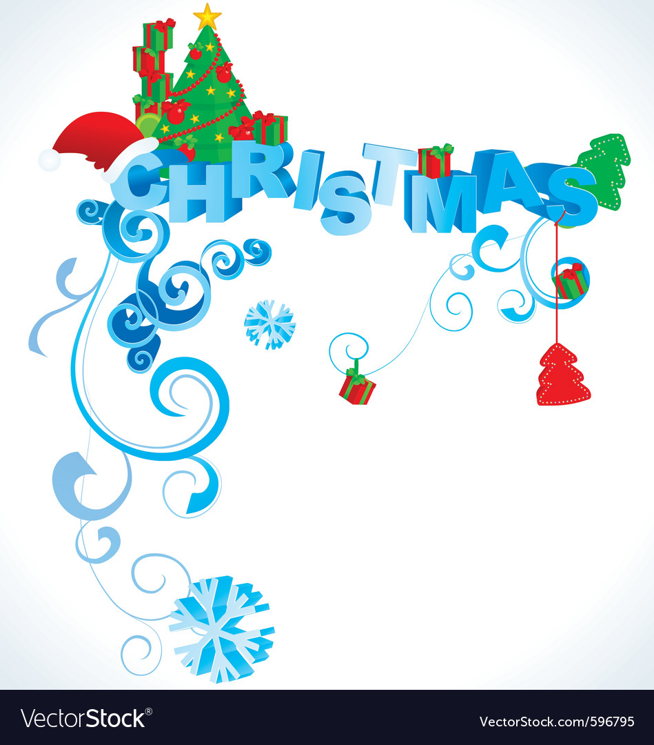 Christmas 3d text vector image