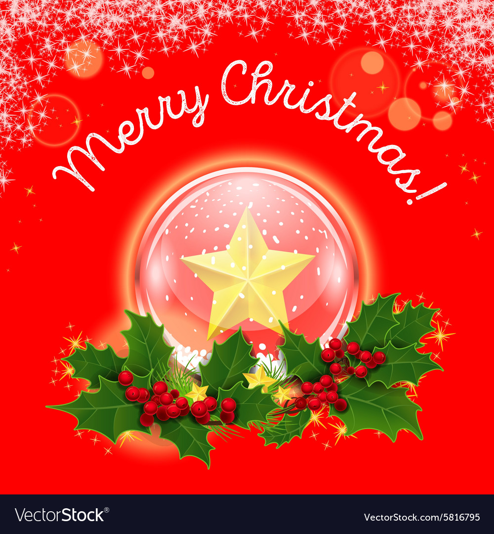 Christmas crystal ball in a wreath of