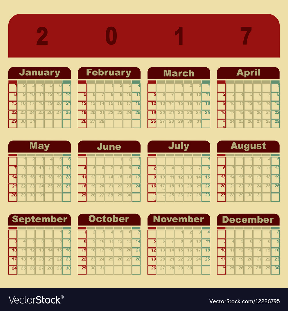 colorful memo 2017 calendar template royalty free vector