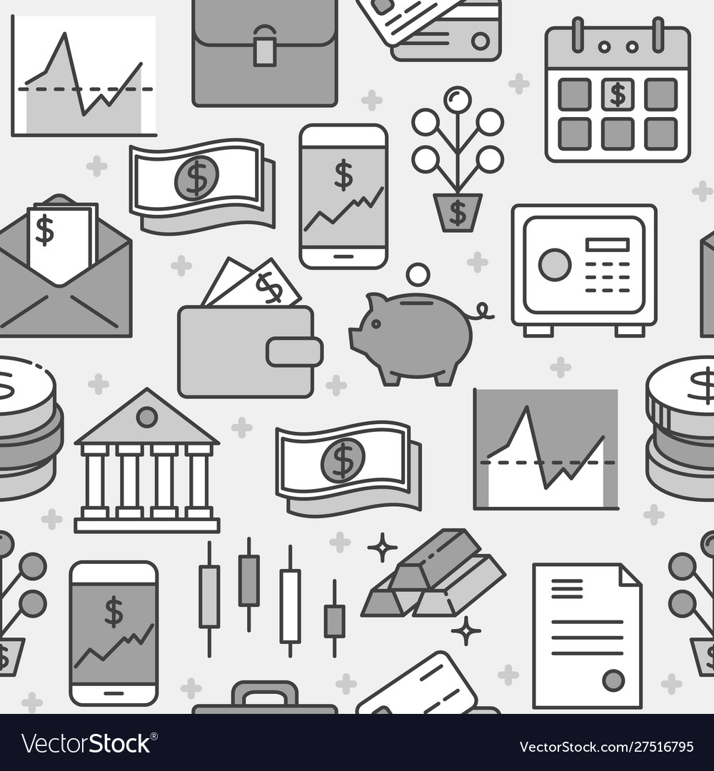 Finance and money seamless pattern in line style