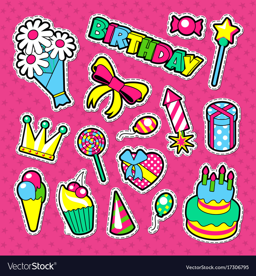 Happy birthday party decoration stickers