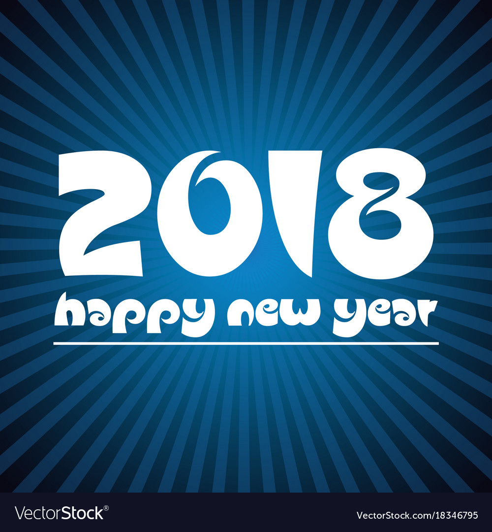 Happy new year 2018 on blue stripped background