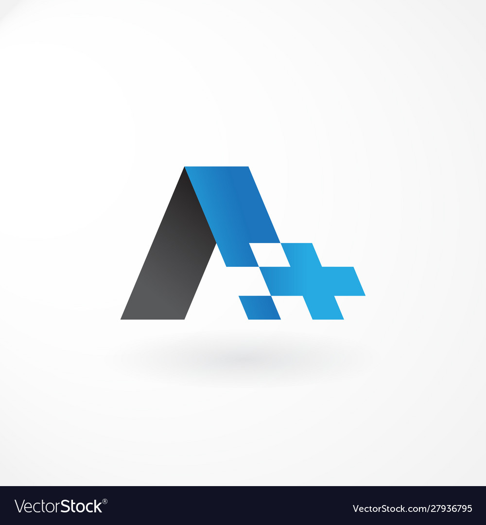 Logo symbol with letter a and plus customized