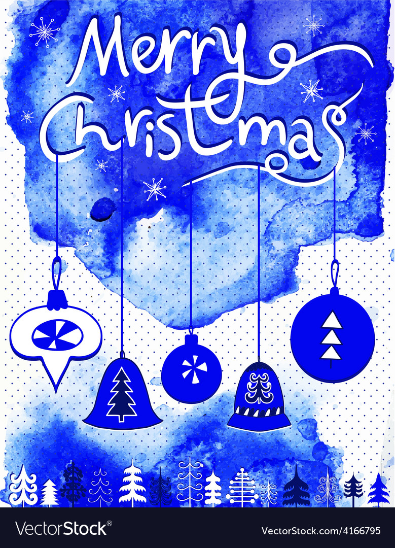 Merry Christmas card Christmas bubbles trees and