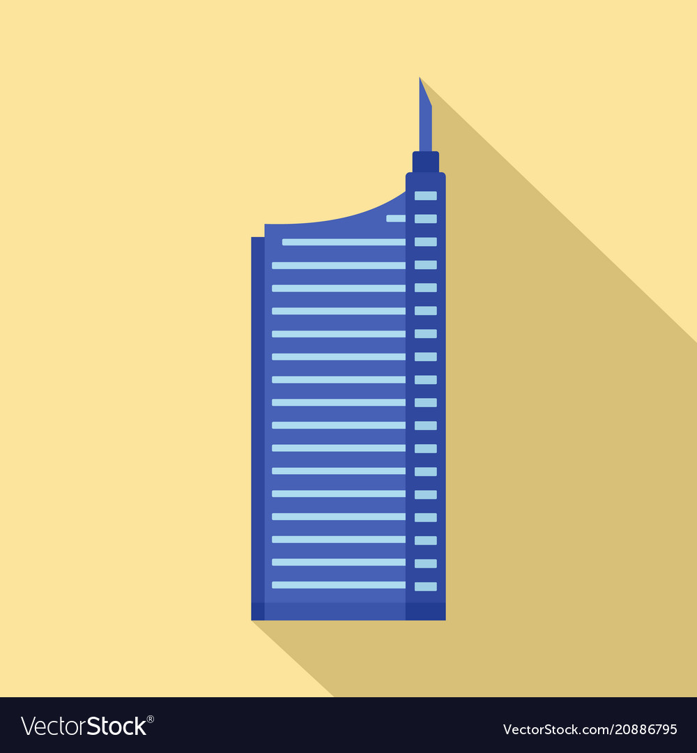 Sky building icon flat style