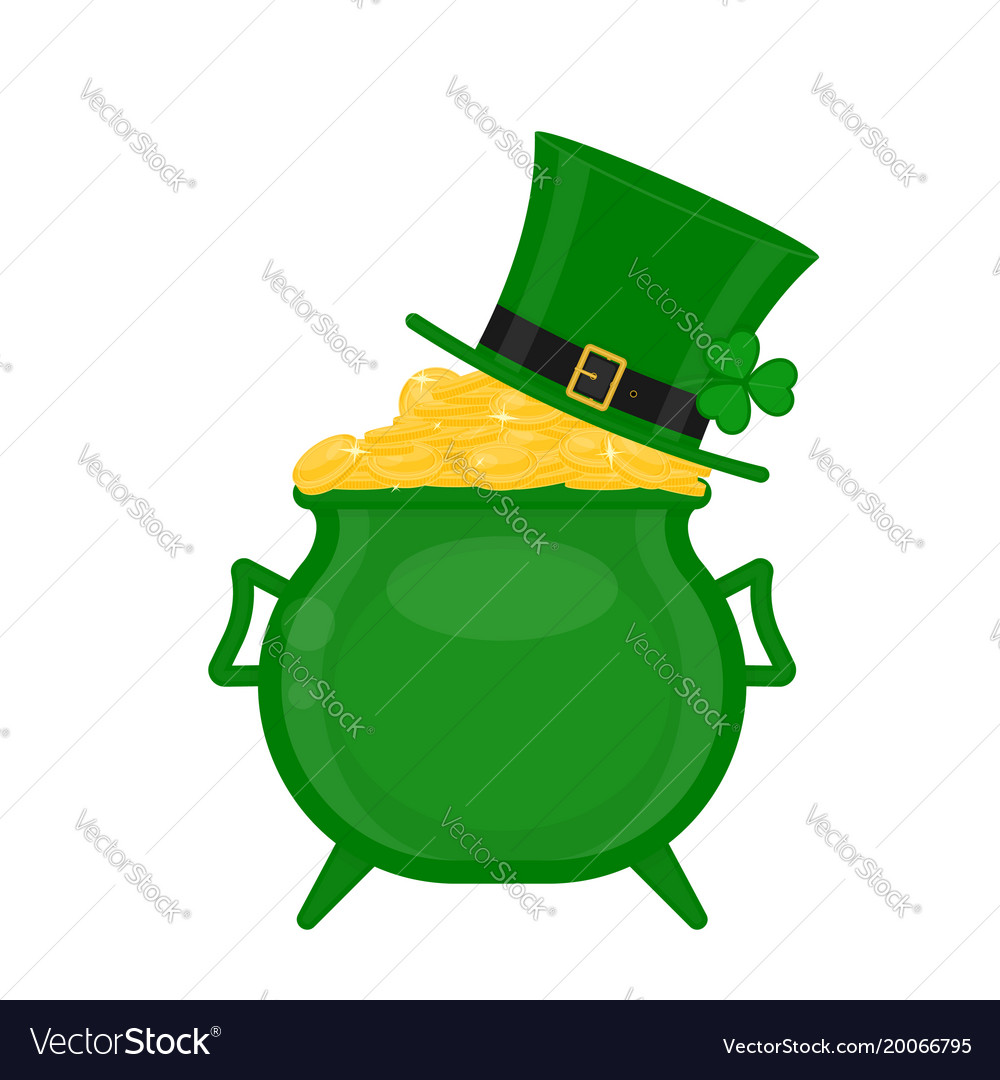 St patricks cauldron with gold and green hat