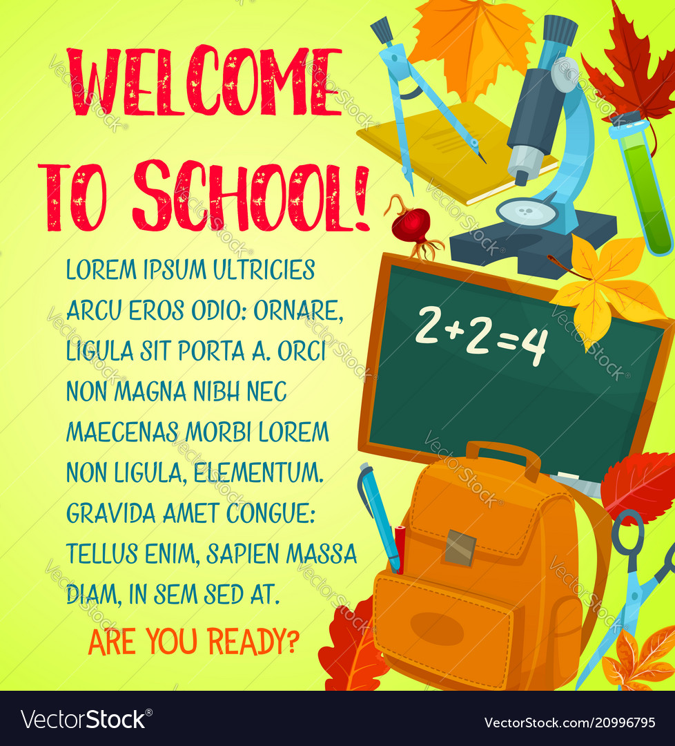 Welcome back to school greeting card template vector image m4hsunfo