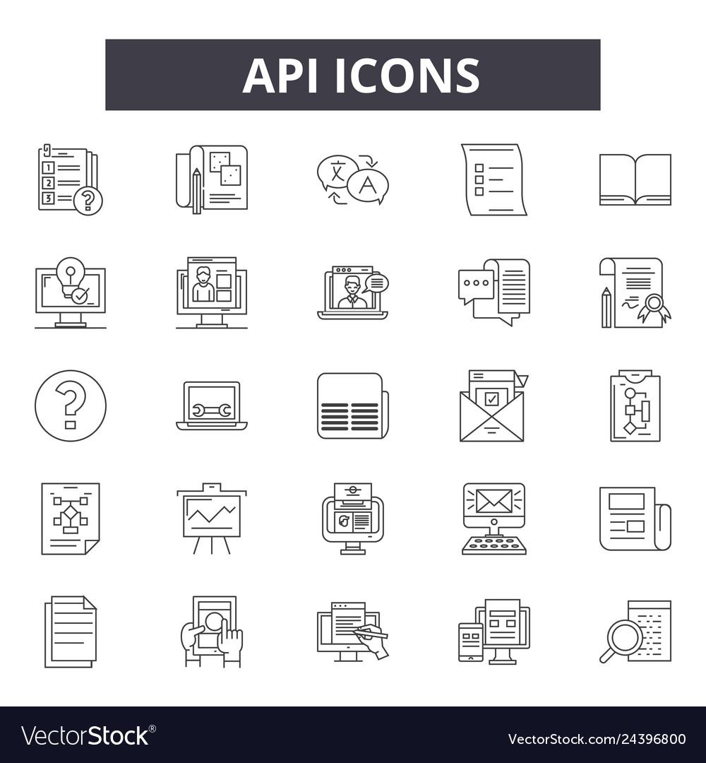 Api line icons for web and mobile design editable