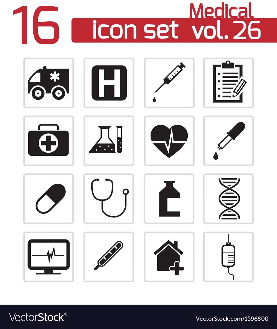 Black medical icon set