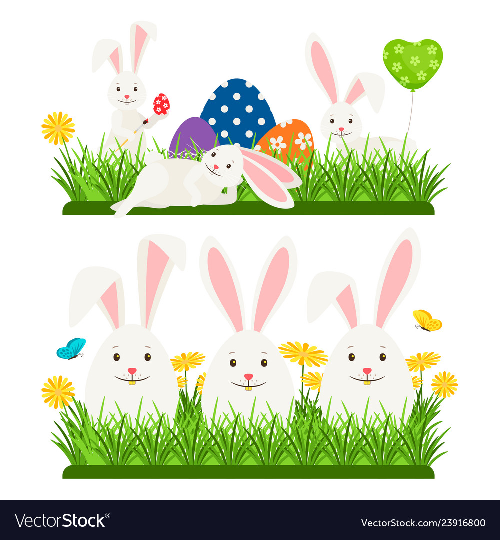 Cartoon character easter bunnies and eggs