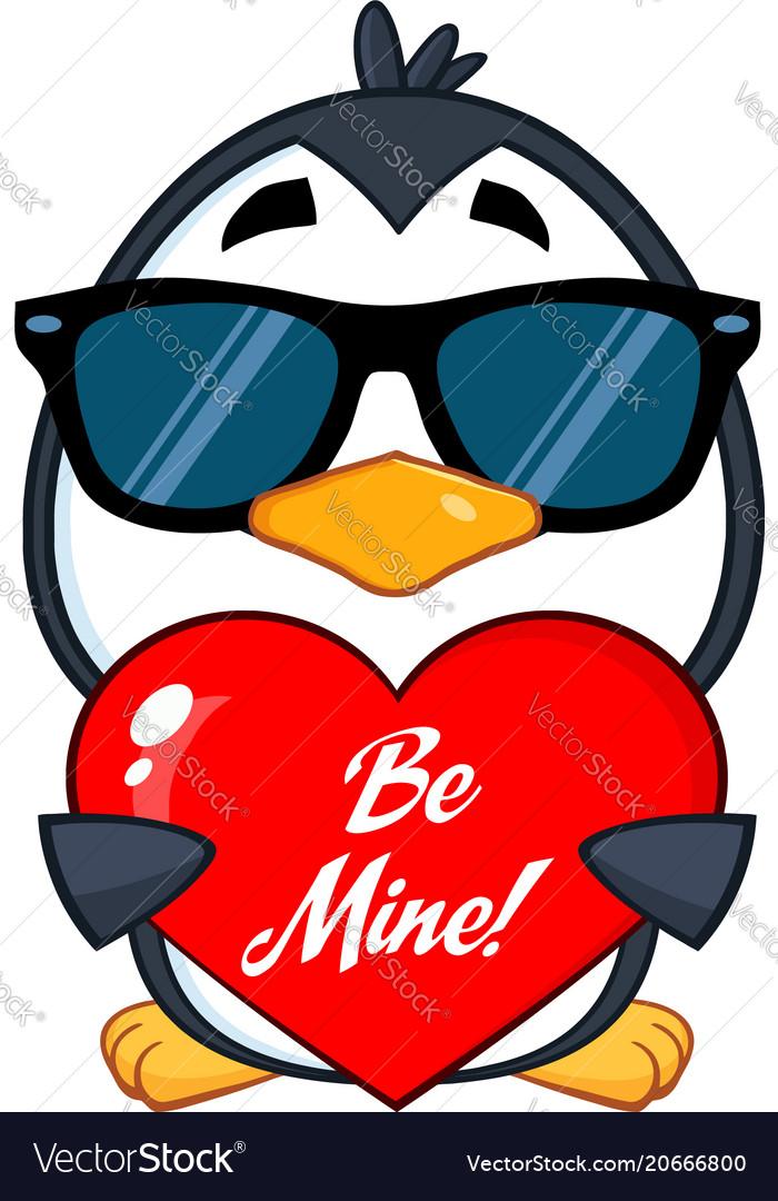 Cute penguin character wearing sunglasses