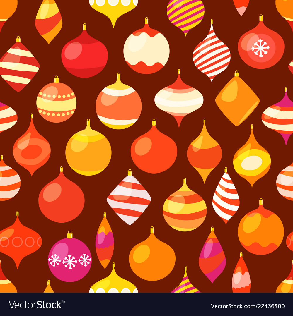 Different christmas baubles seamless pattern