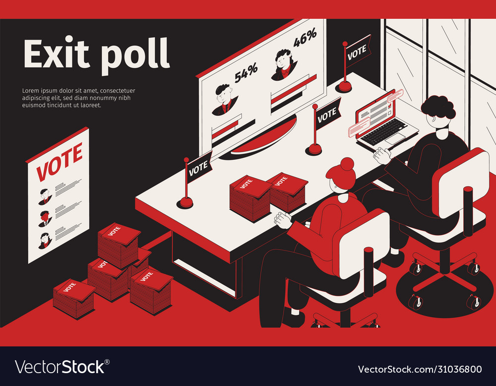 Exit poll isometric background