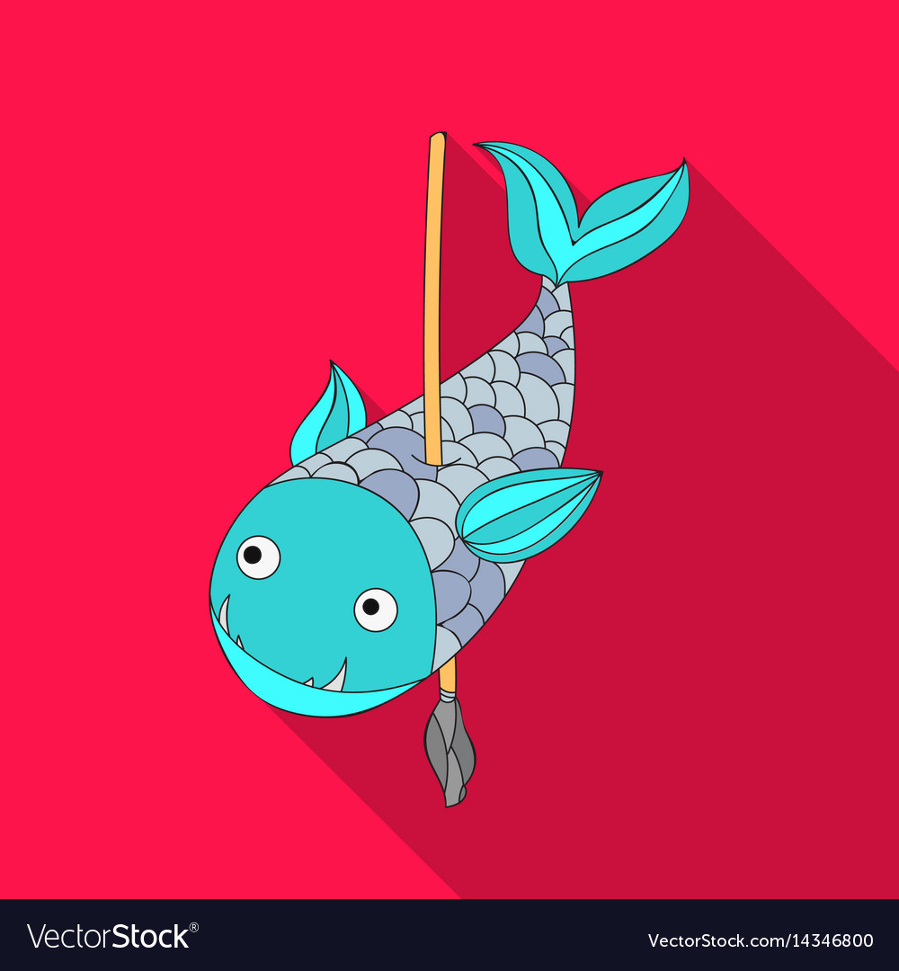 Fish on the spear icon in flate style isolated on Vector Image
