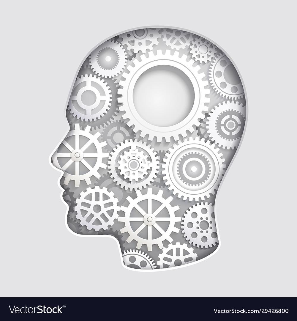 Man head mind thinking with gear symbol paper cut