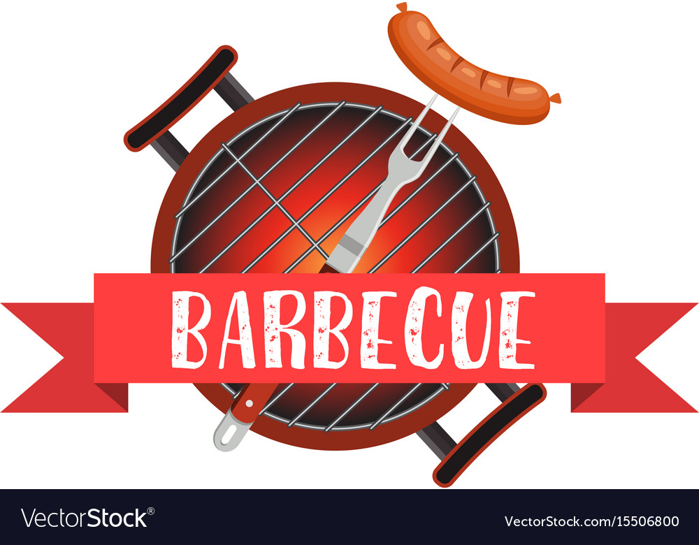 Meal cooked on the grill tools for grilling vector image