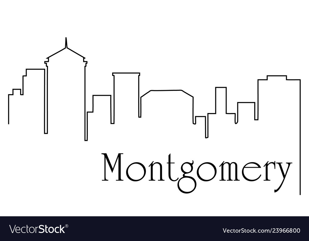 Montgomery city one line drawing