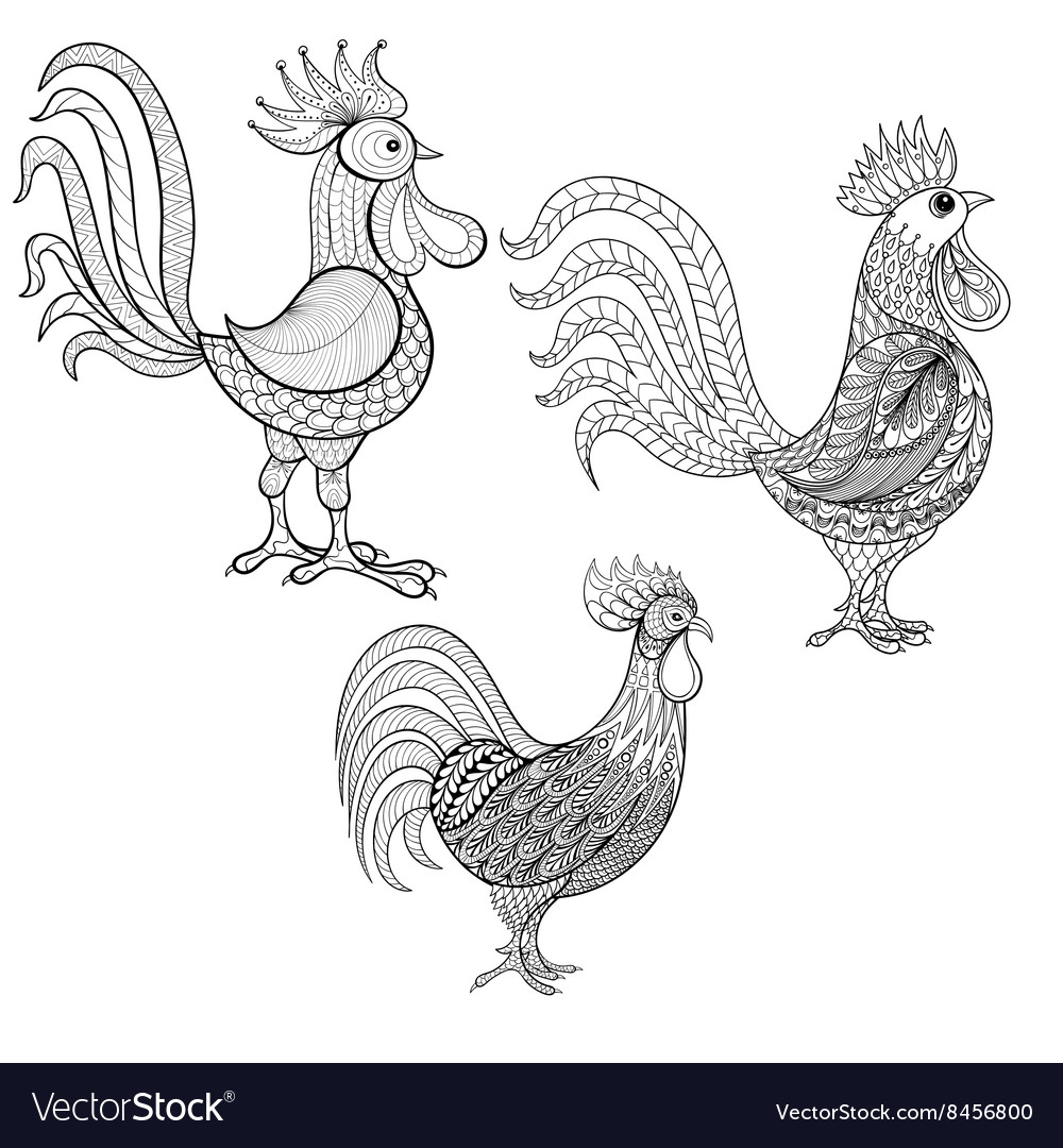 Set Cocks Roosters New Year 2017 symbol