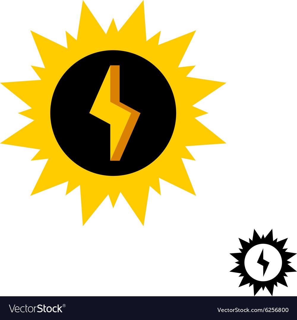 Sun energy logo with lightning bolt