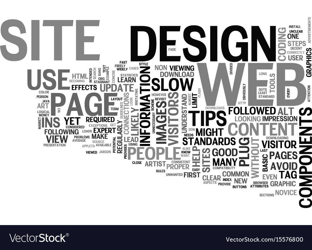 Web design tips text word cloud concept vector image